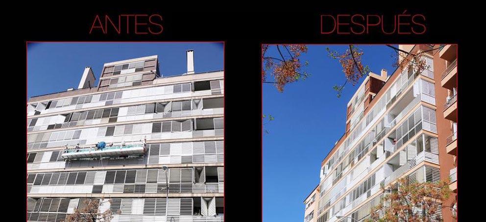 Comparativa de antes y después de una rehabilitación de fachada de trabajos verticales palma.